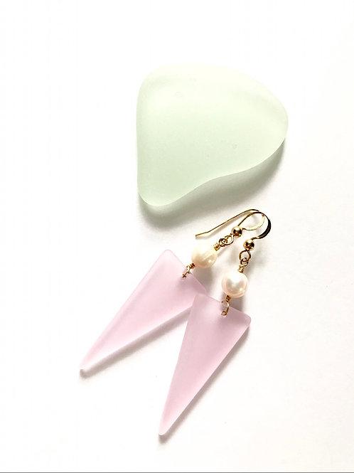 Pale Pink Seaglass Dangles
