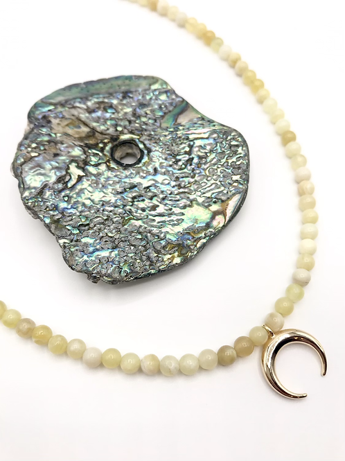 Yellow Opal Crescent Necklace