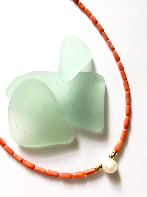 Salmon Bamboo Coral Tidal Pool Necklace