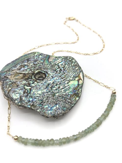 Green Apatite Half Moon Necklace