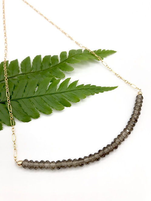 Smokey Quartz Half Moon Necklace