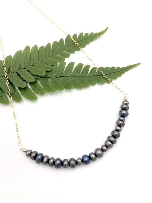 Stacking Stones Half Moon Necklace