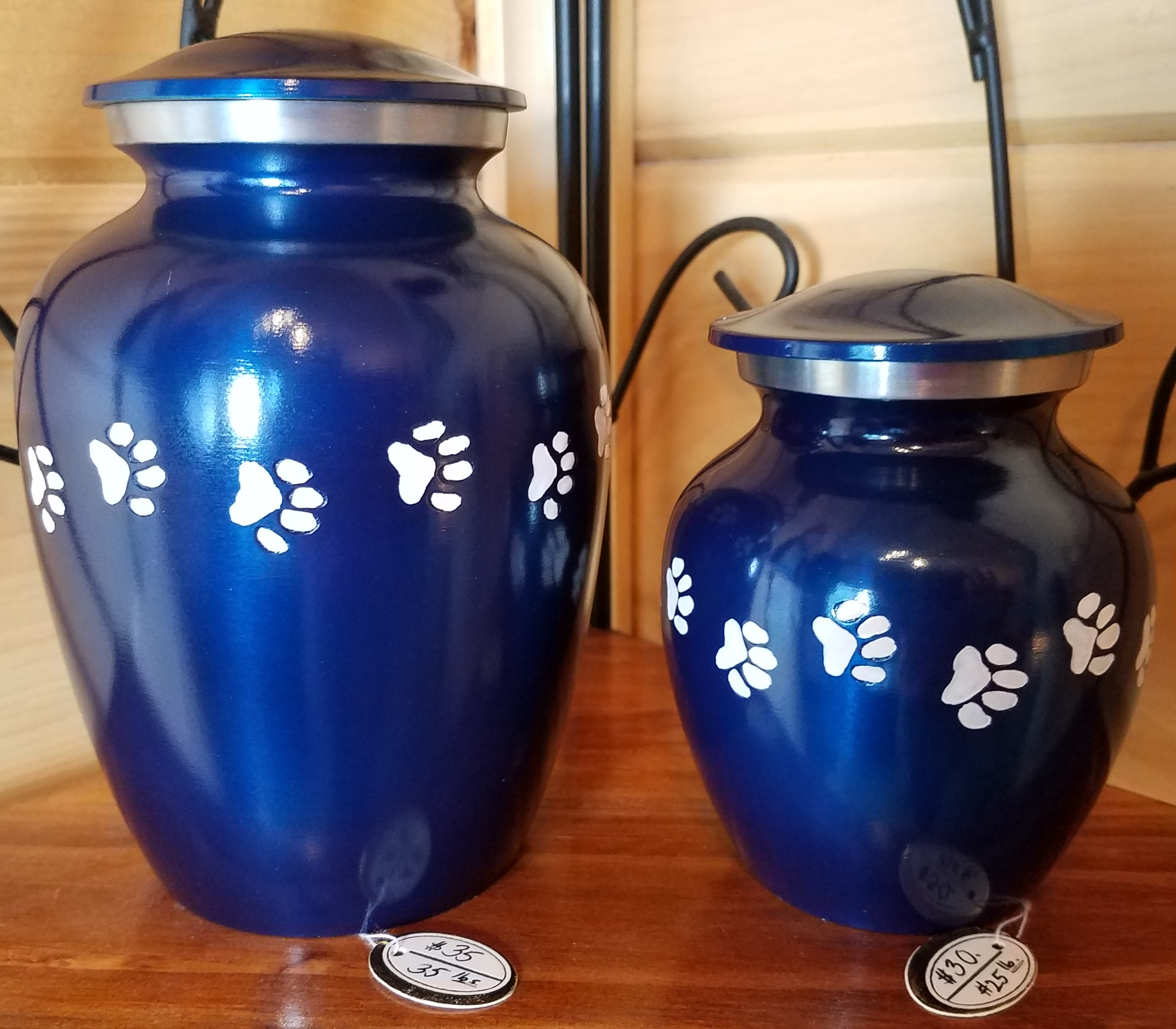 Bright Blue Metal Urns