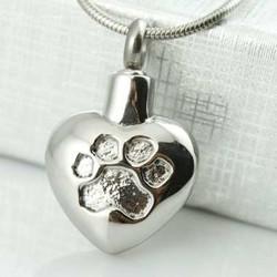Charm Heart With Paw Print Impressio