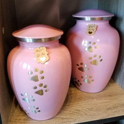 Pink Metal Urns with Paw Prints