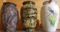 Camo Muted and Glossy; Dragonfly Urns