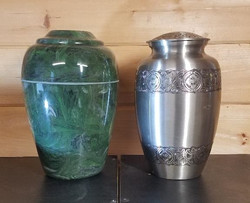 Green Marble and Polished Aluminum Urns