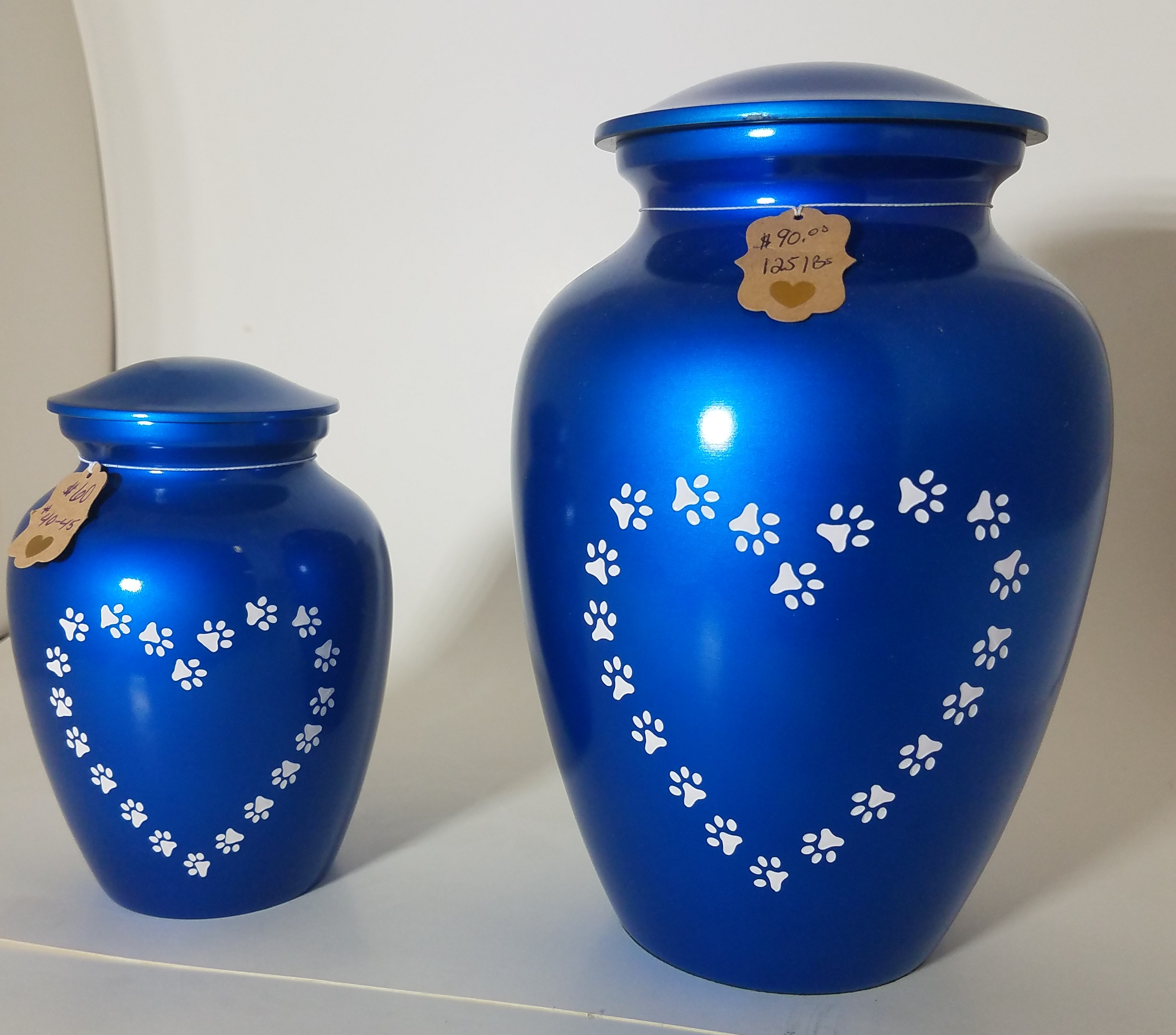Blue Heartprint Urns