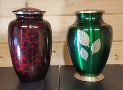 Red Tiger and Green Leaves Urns