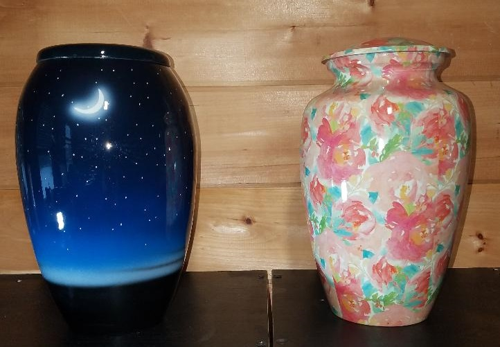 Starry Night and Pastel Flowers Urns