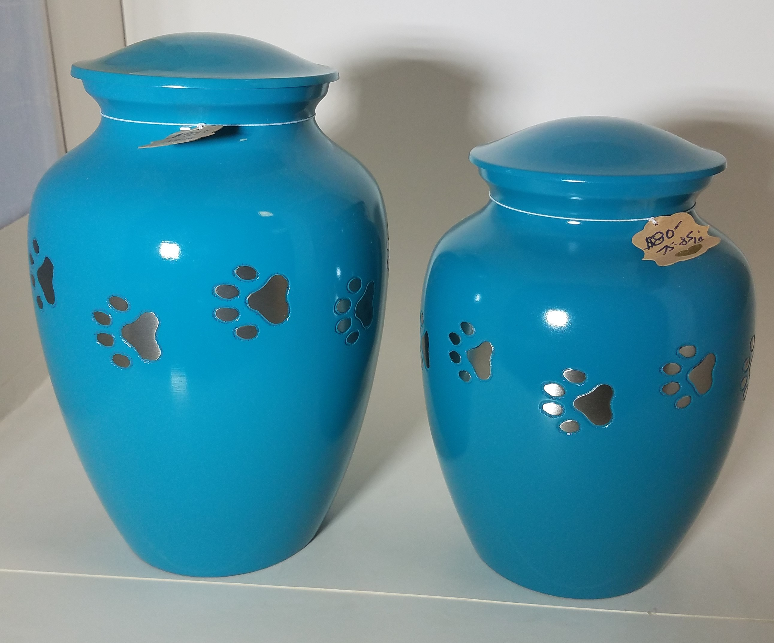 Soft Blue Urn w/Paw Prints