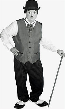 """Dallas Texas Magician Marty Westerman aka """"Charlie Chaplin"""" look alike impersonator who can perform close-up street and stage magic"""