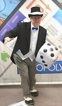 """Dallas Texas Magician Marty Westerman aka """"Rich Uncle Pennybag"""" (Monopoly Man) preforms close-up comedy street and stage magic"""
