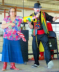 """Magician Marty Westerman Texas aka """"Hollywood"""" the clown loves to get the audience involved during his magic performance"""