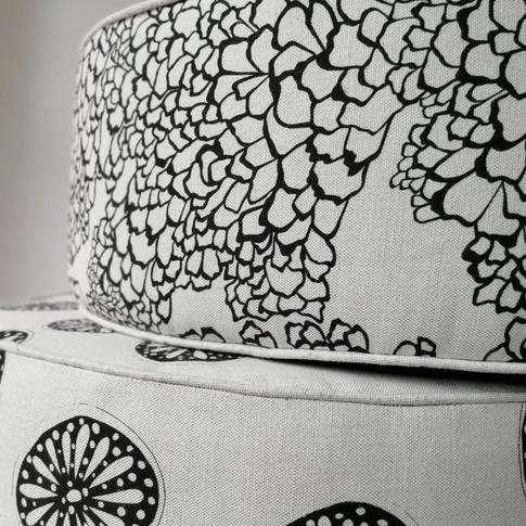 Floor Pouffes in 'Bark' & 'Opium' Fabric
