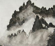 paysage montagne asiatique - encre noire - 2018