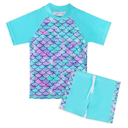 Swimsuit Short Sleeve and Shorts Girls Swimwear Set Upf 50+