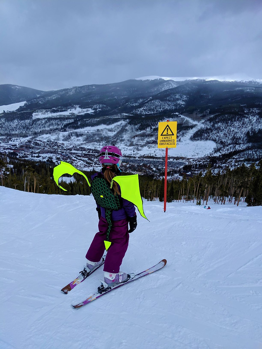 Girl wearing a Dragon Ski Safety Pack
