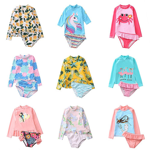 Long Sleeve Rash Guard Swimsuit Two-Piece Set for Girls and Toddlers UPF50+