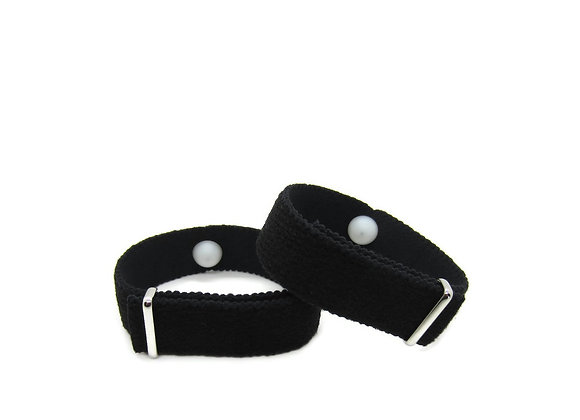 Acupressure Motion Sickness Aromatherapy Bracelet, Adjustable (Pair) Black