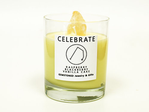 CELEBRATE | Intention Candle | Soy Wax | Gemstoned Candle