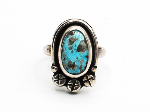 Size 7½ | Turquoise | Sterling Silver Ring | Rough Hands Silver | RH23