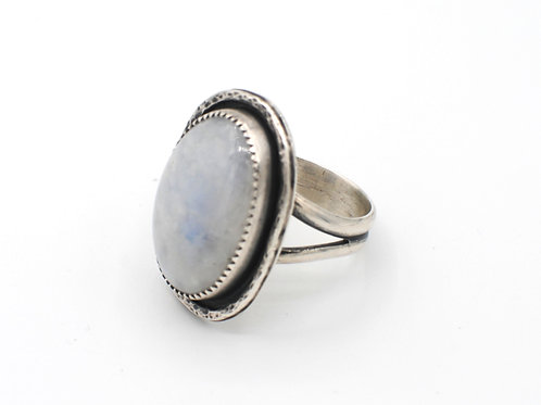 Size 9½ | Moonstone | Sterling Silver Ring | Rough Hands | RH16