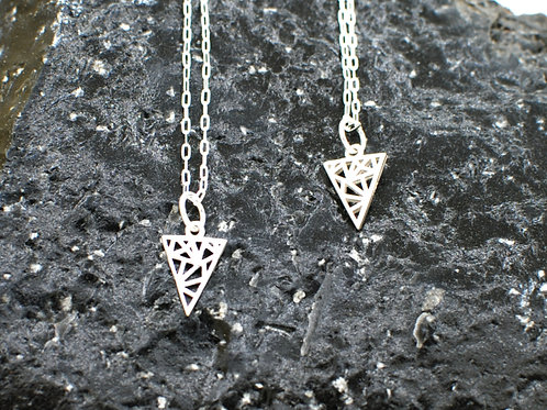 "Geometric Triangle Necklace | 0.925 Sterling Silver | 16"" or 18"" 