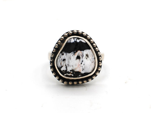 Size 8¼   White Buffalo Turquoise   Sterling Silver   Rough Hands Silver   RH29