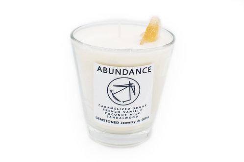 ABUNDANCE   Intention Candle   Soy Wax   Gemstoned Candle