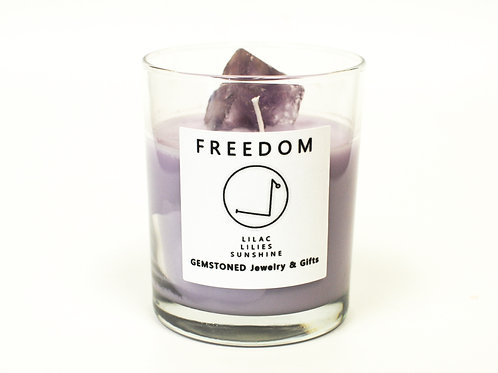 FREEDOM   Intention Candle   Soy Wax   Gemstoned Candle