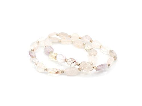 Clear & Lavender Quartz | Stretchy Bracelet | GEMS077
