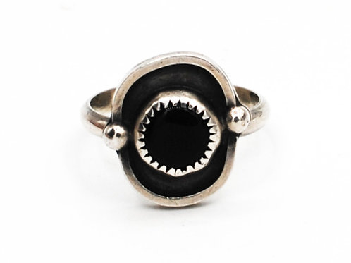 Size 7 | Black Onyx | Sterling Silver Ring | Rough Hands Silver