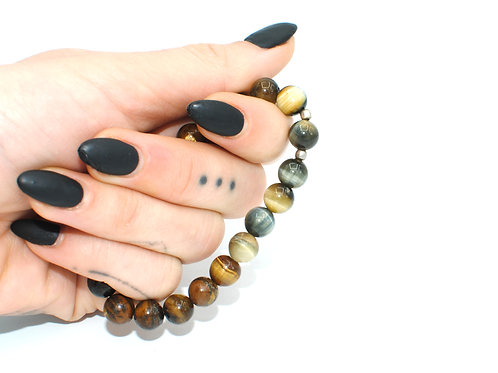 1081 | Blue Tiger's Eye & Tiger's Eye | Stretchy Beaded Bracelet | Medium