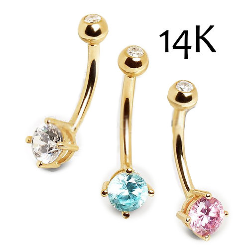 14Kt Gold Navel Ring with Prong Set Round CZ | 14 guage | 10mm