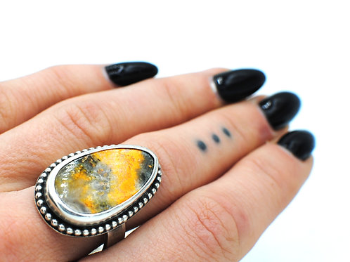 Size 9½   Bumblebee Jasper    Sterling Silver Ring   Rough Hands Silver   RH33