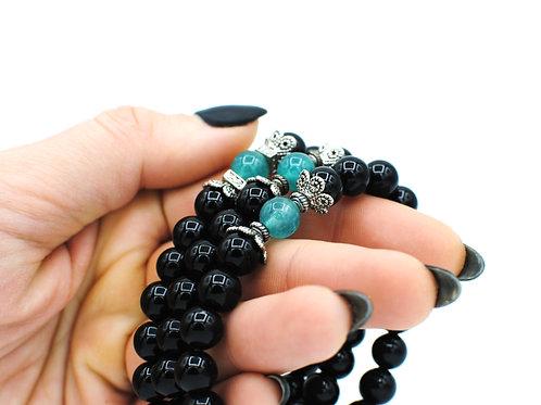Colored Quartz & Onyx | Stretchy Bracelets | GEMSM081