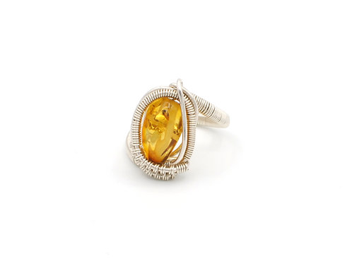 A13  | Amber | Sterling Silver Ring | Size 7.5