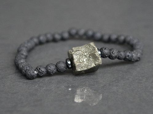 Pyrite, Lava Rock + Hematite | Stretchy Bracelet | GEM00023