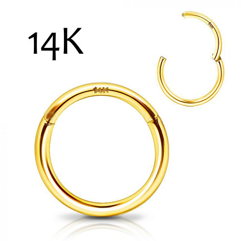 14Kt. Yellow Gold Seamless Clicker Ring | 16 guage | 10mm | Body Jewelry