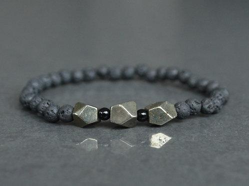 Pyrite, Lava Rock + Black Jasper | Stretchy Bracelet | GEM00025