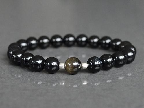 Gold Sheen Obsidian + Black Jasper | Stretchy Bracelet | GEMM0032