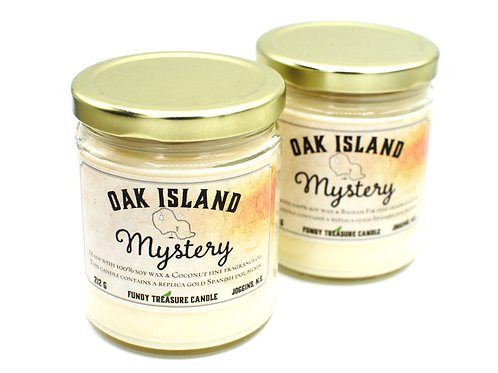 Oak Island Mystery Candle | Dubloon Inside | Fundy Treasures