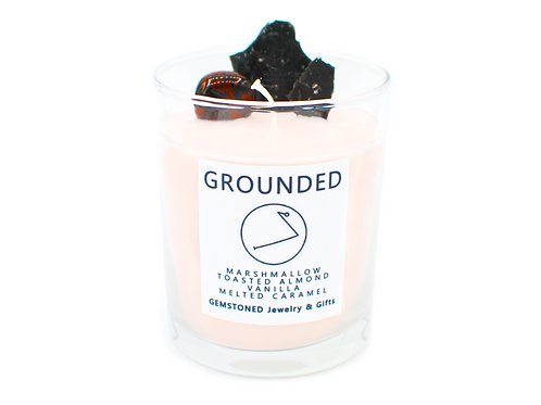 GROUNDED | Intention Candle | Soy Wax | Gemstoned Candle