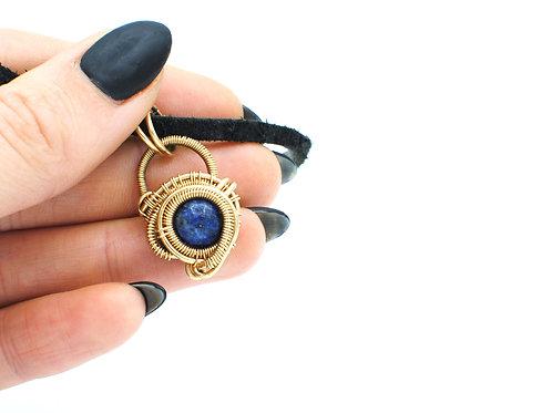 "Lapis Lazuli & 14K Gold Necklace on Suede | 15.5"" | GEM104"