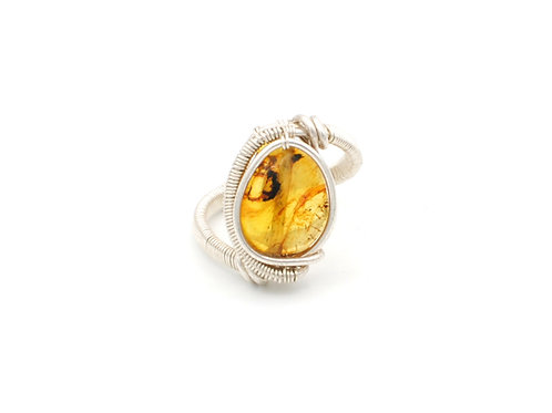 A14  | Amber | Sterling Silver Ring | Size 7