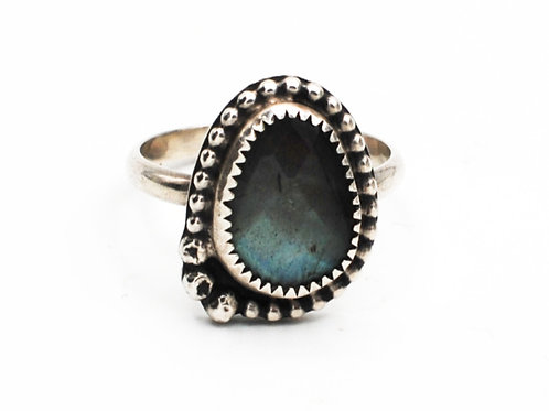 Size 9¼ | Labradorite | Sterling Silver Ring | Rough Hands Silver | RH27