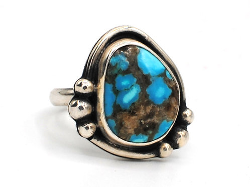 Size 7¾ | Turquoise  | Sterling Silver Ring | Rough Hands Silver | RH30