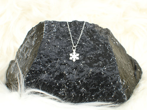 "Snowflake Necklace | 0.925 Sterling Silver | 16"" or 18"" 