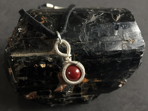 Red Jasper   Sterling Silver   Wire Wrap Necklace with Chain   GEM00008